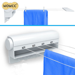 WOWCC 1pc Wall Mounted Clothes Hanger Dryer Hanger Clothesline Outdoor Laundry Washing Line Drying Rack For Tie Coat Towel