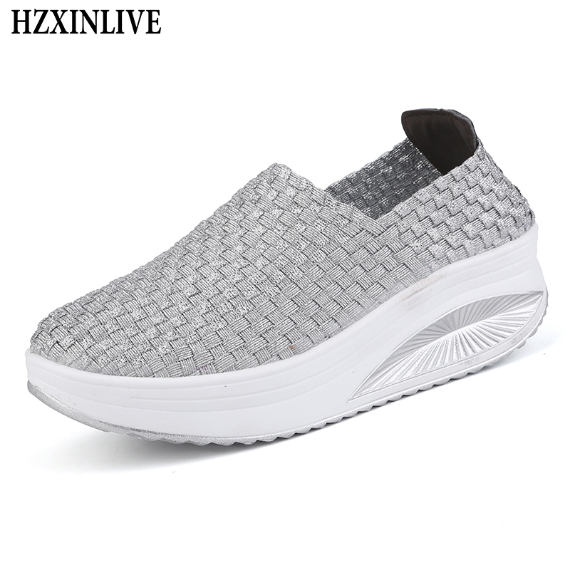 HZXINLIVE 2018 Breathable Flats Shoes Women Slip-on Flexible Flat Braided Shoes Ladies Summer Loafers Thick Heel Zapatos Mujer hzxinlive 2018 flat shoes women breathable flats shoes for women ladies casual platform female fashion summer sneakers footwear