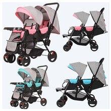 Коляска для близнецов коляска Легкая Складная передние и задние сиденья может лежать 180 градусов двойная детская коляска для близнецов коляска