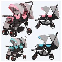 Twins Baby Stroller Carriage Cart Light