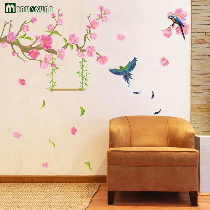 GroBartig YunXi Frühjahr Pfirsich Papagei Aufkleber Wohnzimmer Schlafzimmer Flur Hintergrund  Dekoration PVC Wandaufkleber 150*130 In