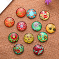 100Pcs Round Mixed Colourful Flowers Fleur Plant Pattern Glass Cabochons Dome Seals Jewelry Crafts Making Accessories 10mm