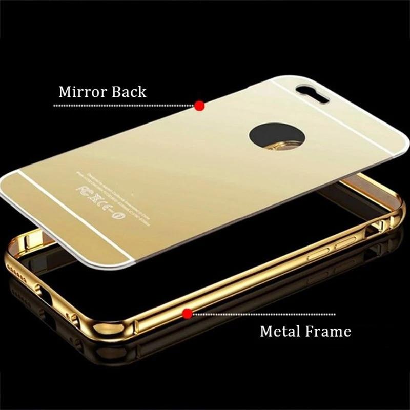 Coque miroir pour iphone 5 5s SE 5C Coque de luxe en aluminium cadre de pare-chocs en métal couverture arrière sur iphone 5 5 s SE 5C Coque de boîtier