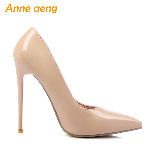 12cm High thin Heels Women Pumps Pointed Toe Shallow Bridal Wedding Shoes Sexy Ladies Women Shoes Nude High Heels Big Size 34-46 1