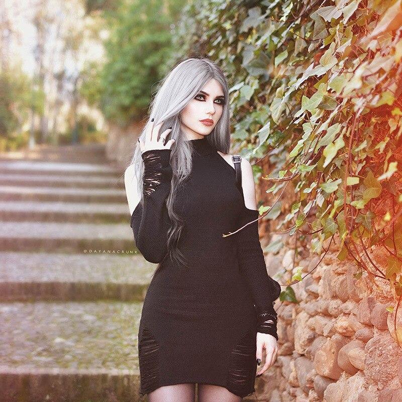 2018 New Arrival Autumn Winter Gothic Girls Dress Sexy off shoulder Women Dresses Long Sleeve Black Punk Dress Short Dresses 1