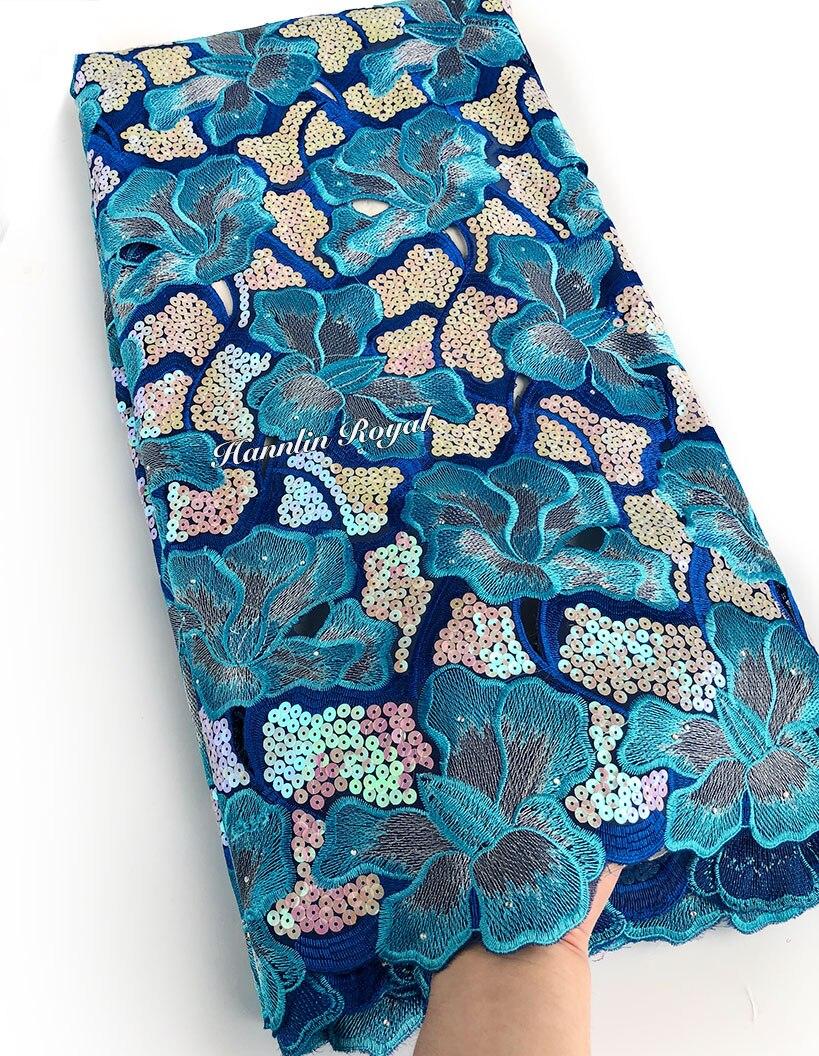 สีฟ้าสวยบิ๊ก Handcut organza ลูกไม้ผ้า allover เลื่อมโลหะ lurex 5 หลา 7101-ใน ลูกไม้ จาก บ้านและสวน บน   1