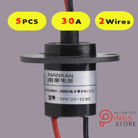 5PCS 2 Wires Circuits 30A 22mm Wind Generator Slip Ring Wind Turbine Slip Ring Rotating