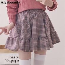 """Женская милая юбка японского стиля""""лолита"""",классная мини юбка в клетку,с шортиками,розового и серого цвета,с оборками,для невысоких девушек"""