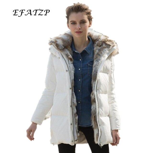 Siti 2015 invierno grueso marca Abrigos de plumas chaqueta moda mujer  sólido ropa Pieles de animales f8aa684c1953