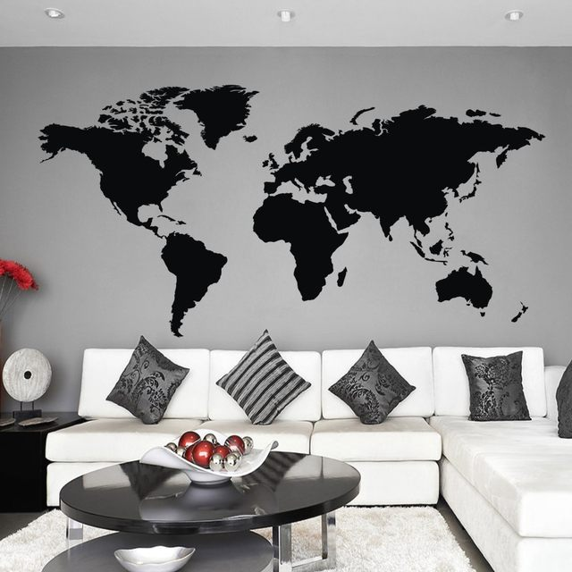 Online shop vinyl wall art wall sticker atlas world map wall decal vinyl wall art wall sticker atlas world map wall decal for home office decor 122cmx61cm gumiabroncs Image collections