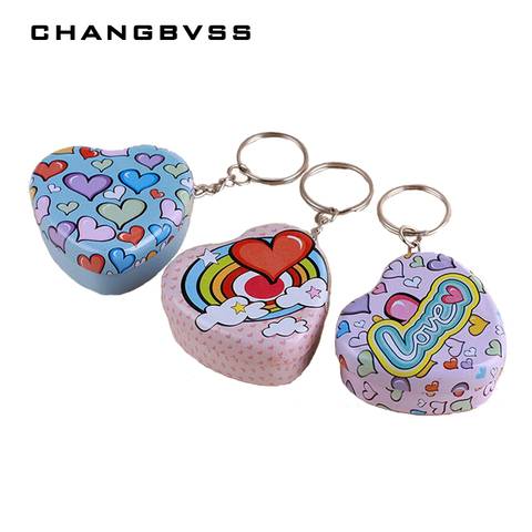 Portable 12 pcs/lot Mini Lovely Round Heart Shape Storage Box with Key Chain,Cute Metal Box for Candy Tea,Kawaii Small Tin Boxes Pakistan