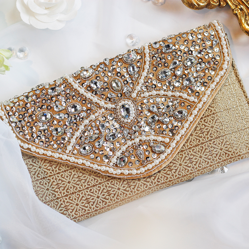 Bespoke envelope hand bag female hand embroidery Beaded drill party hand bag casual bag envelope clutch