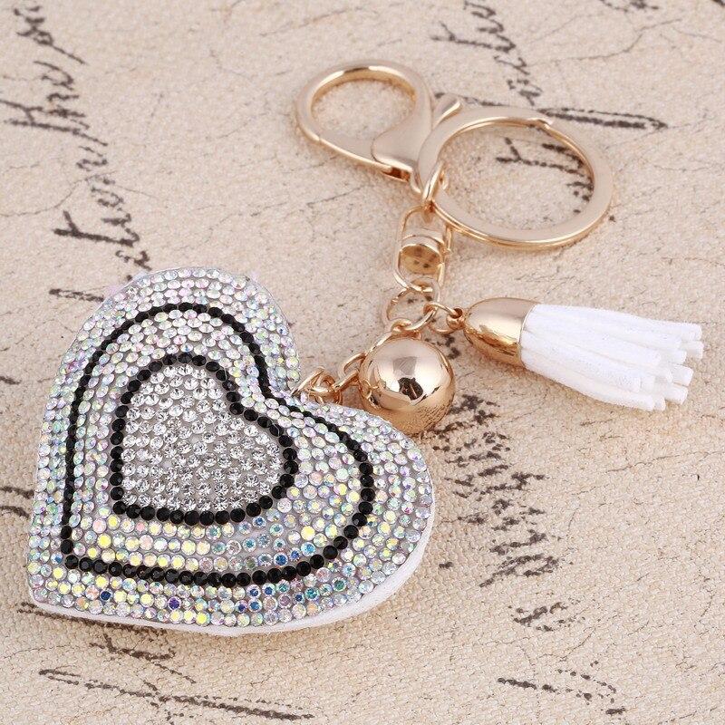 Кулон сердце золотили брелок кожи кисточкой Кристалл Rhinestone сумка кошелек автомобиль llaveros брелки брелок украшения держатель