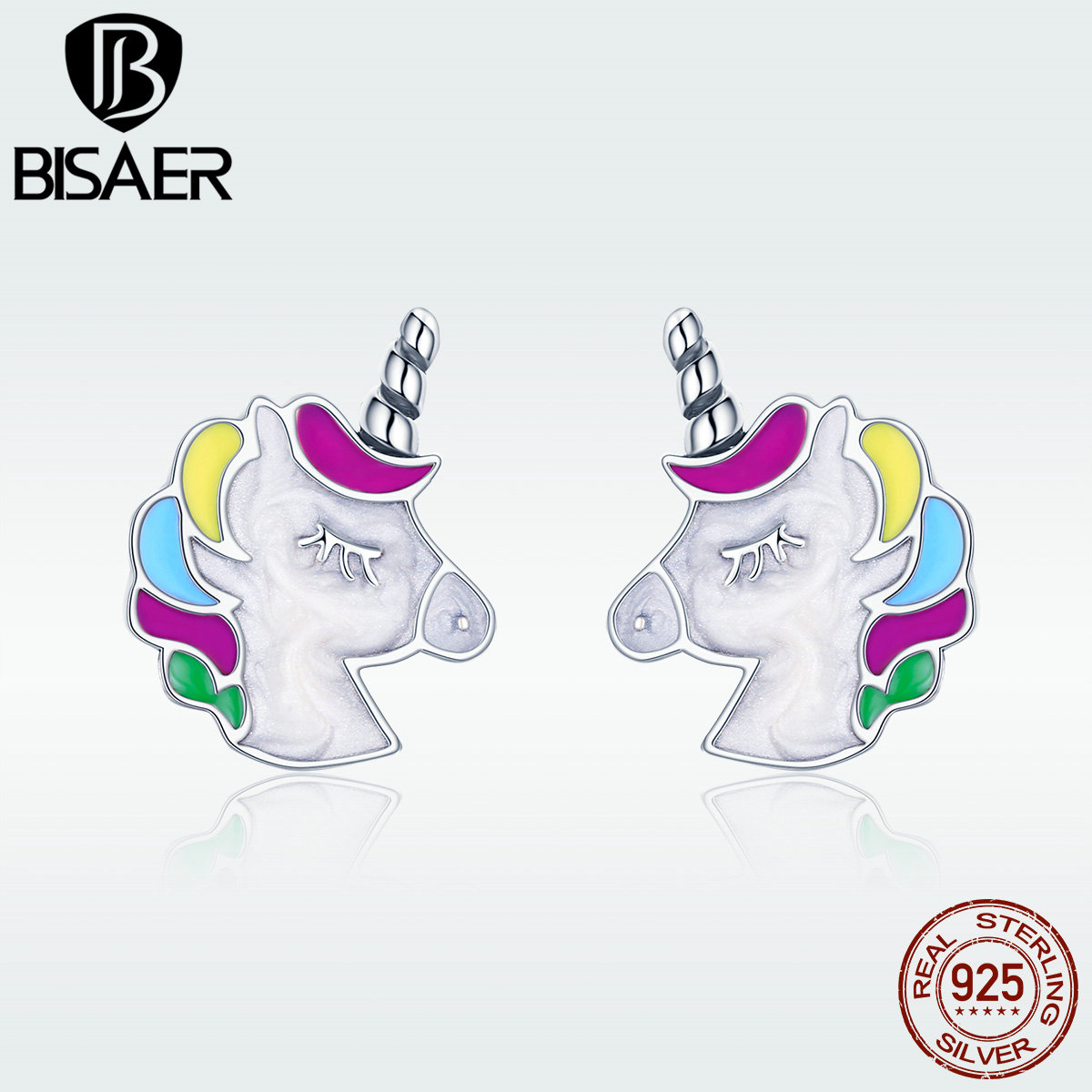 Licorne 925 Sterling Silver Colorful Enamel Fairy Tale Store Lucky Licorne Stud Earrings For Girl Birthday Gift Brinco GXE393