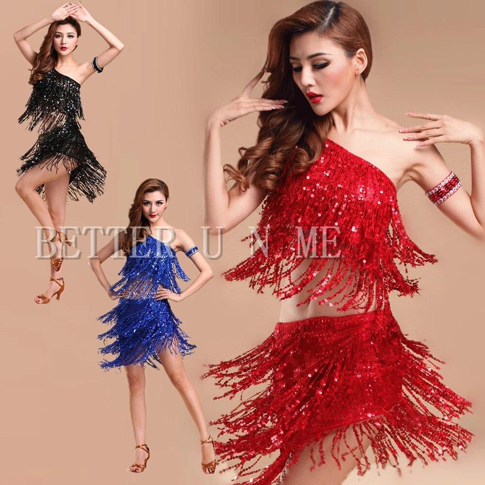 Latin Dance Costume Performance Wear Dancing Dress Women Sequins Tassels Skirt