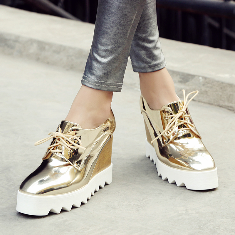 Akexyia Bling Patent Leather Oxfords 2017 Wedges Gold Silver Platform Shoes  Woman Casual Creepers Pink High Heels High Quality-in Women's Pumps from  Shoes ...
