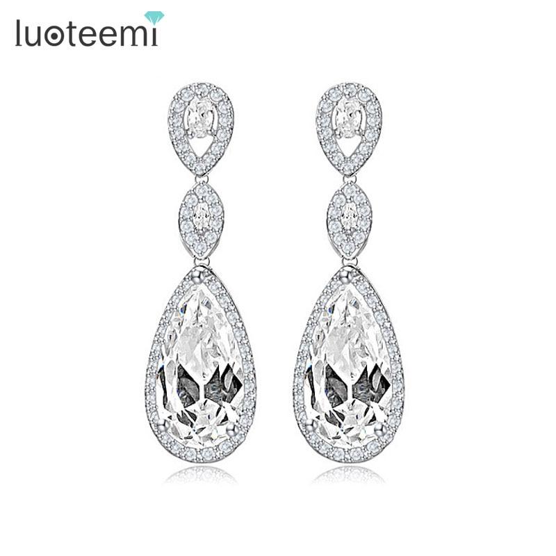 LUOTEEMI luksuslikud kõrvad kõrged kõrvarõngad naiste pulmadeks kõrvarõngadeks veega tilk tsirkoonipidu kingitus valge värvi hulgimüük
