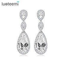 Women Luxury 1.8 Long Heavy AAA Cubic Zirconia Drop Dangle Earrings