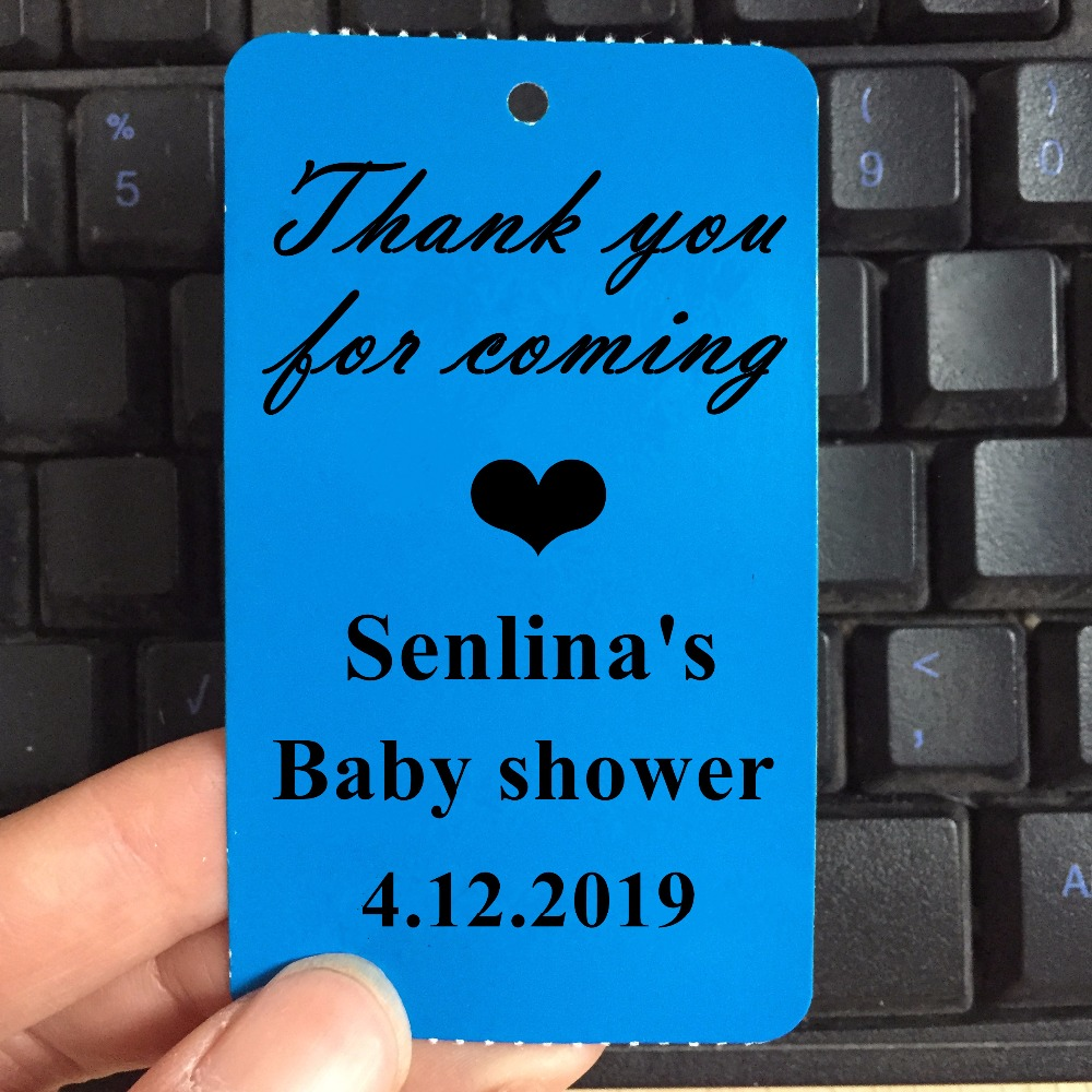 Thank you for coming boy Baby Shower Favor Tag Personalized with name and date 35 ct