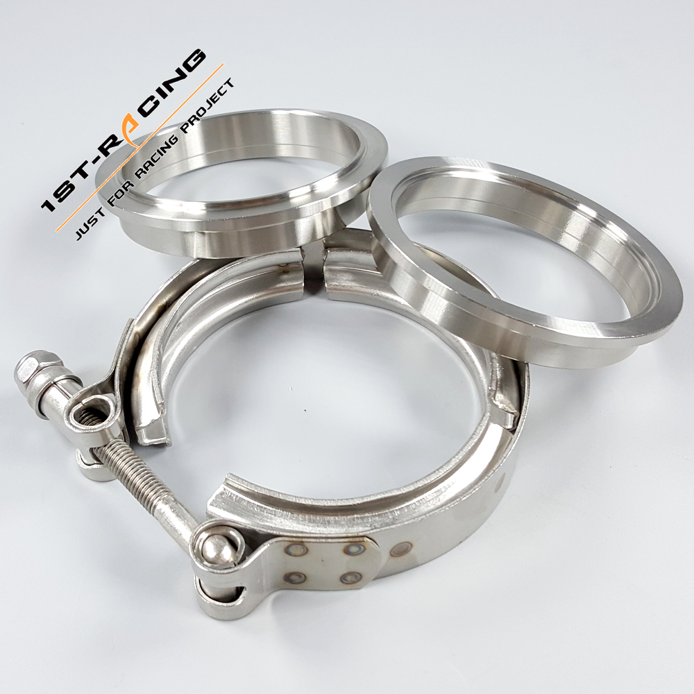 """3.5/"""" 89mm Stainless Steel V Band Clamp /& Flange for Turbo Exhaust 3.5inch V-band"""