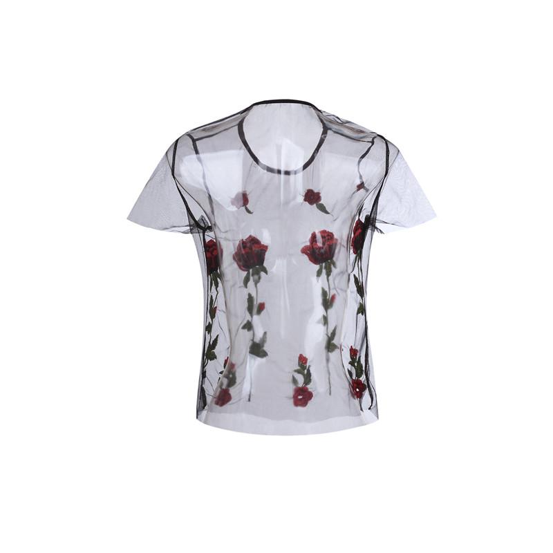 HTB1fjELQpXXXXbOXVXXq6xXFXXXB - Embroidery Romantic Flower Floral Red Rose T-Shirt PTC 71