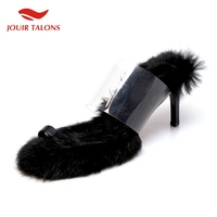 Luxury Brand Fashion Rabbit Hair Ladies High Heels Mules Women Shoes Woman Sexy Outdoor Party Summer Slippers 2019