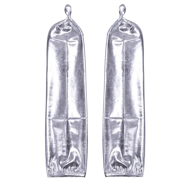 New Arrival Fashion Women Ladies Wetlook Patent Leather Stretchy Fingerless Long Gloves for Halloween Party Cosplay Costumes