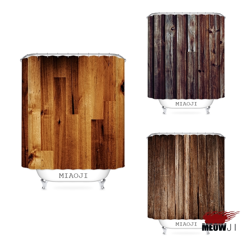 [MIAOJI] Brown Wood Grain Pattern Shower Curtain Vintage Printed Polyester Fabric Bathroom Decor with Hooks Free Shipping