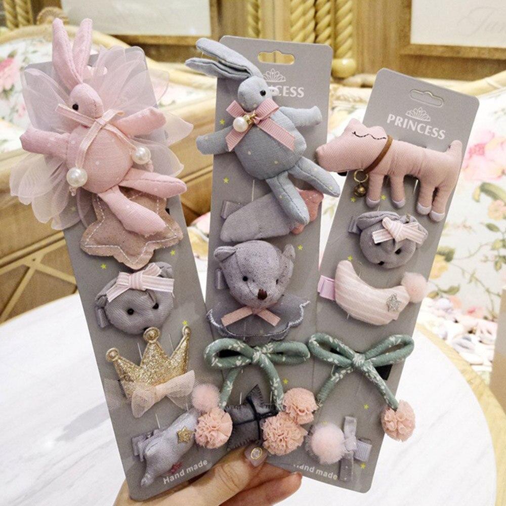 2018 New 5pcs Baby Girls Cute   Headwear   Kids Bowknot Flower Hairpins Sets Headbands Headdress Newborn Hair Accessories Gift