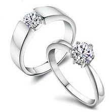 цена на Free shipping MSF brand super shine swiss zircon crystal 925 sterling silver & platinum plated lovers`couple rings finger ring