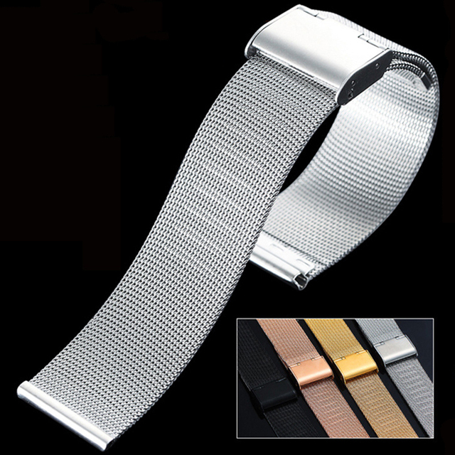 Universal Milanese Watchband 12 14 16 18 20mm 22mm 24mm Silver Stainless Steel Strap Band Replacement Bracelet for Smart Watch