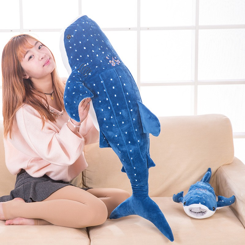 middle size plush simulation big mouth shark toy big stuffed dark blue shark toy gift about 100cm 0258 napapijri guji check dark blue