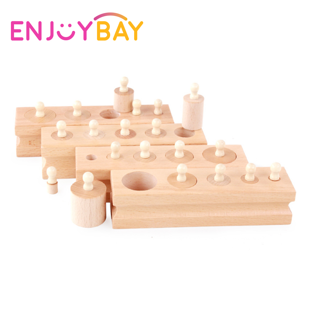 Enjoybay 4pcs Wooden Socket Toys for Kids Math Teaching Children Cylinder Socket Blocks Early Educational Toys Gifts for Baby
