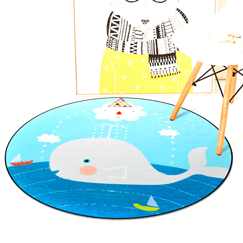 Cartoon Animals Carpet Kids Room Thick Soft Round Carpet Computer Chair Fur Rug Fashion Rugs For Bedroom Kids Tent Round Rug Mat
