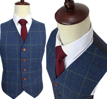 Wool Blue Ckeck Tweed Custom Made Men suit  Blazers Retro tailor made slim fit  wedding suits for men 3 Piece