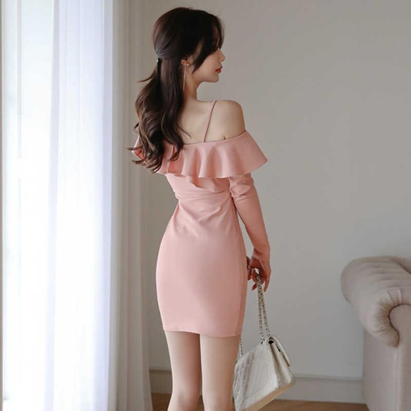 2019 Повседневное Для женщин пикантные вечерние платье Элегантное гофрированное платье с открытыми плечами, полоска платья короткое летнее платье женские платья Vestidos ZT1963