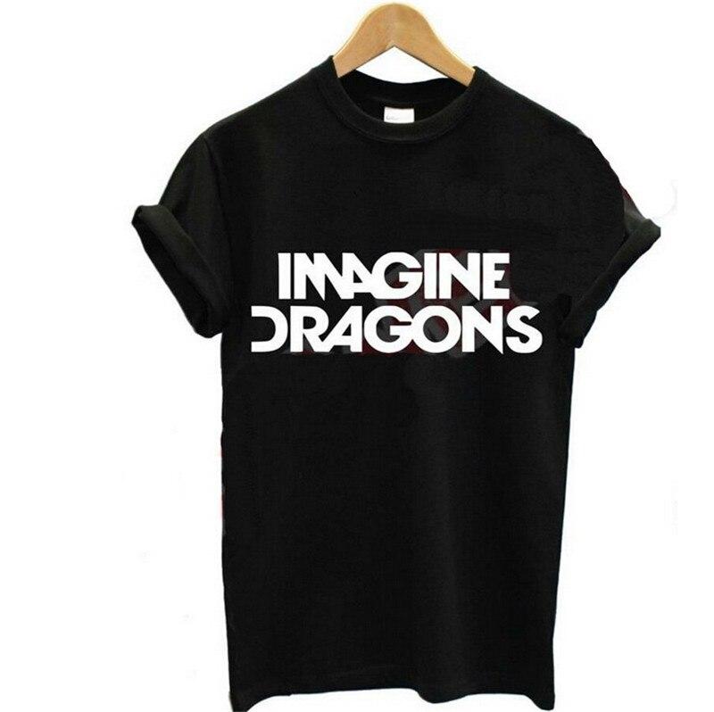 IMAGINAR DRAGÕES Engraçados Da Camisa Letras Imprimir Harajuku Algodão Ocasional do Verão Para A Menina Top Tee Tumblr Camisetas Feminina Camisetas
