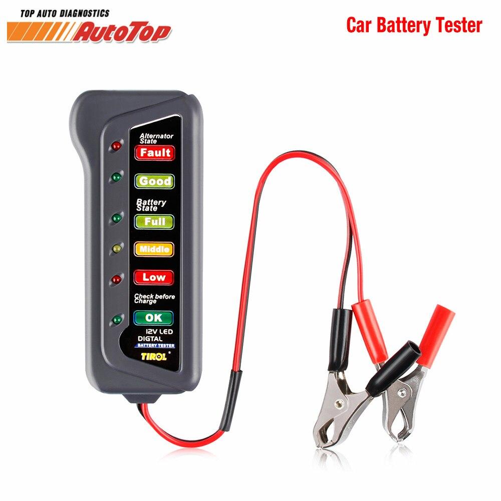 2018 Batterie De Voiture Testeur Voiture Vérifier La Batterie Condition Alternateur Testeur De Charge 6 Affichage LED indication Batterie Outil De Diagnostic