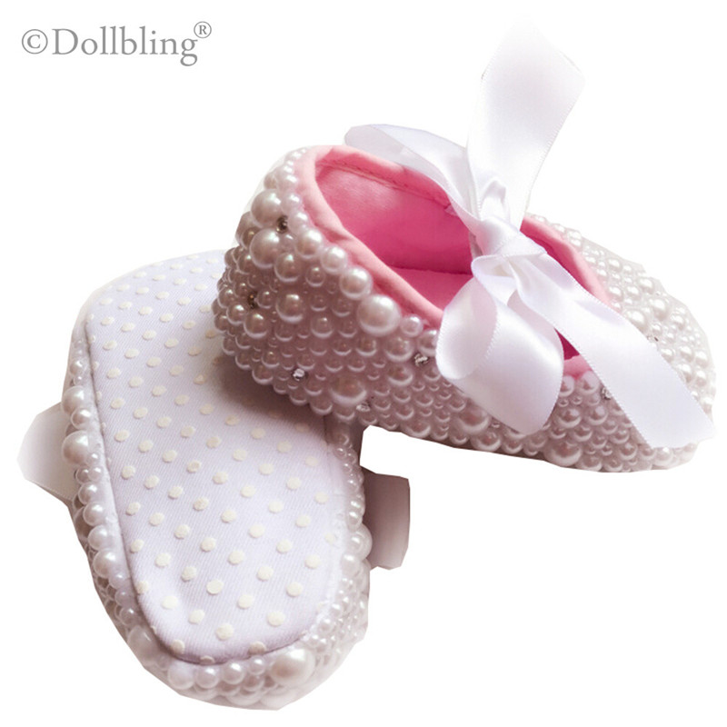 Pure White Christening Cute pearls custom made DIY prewalkers inspired  wedding new born footwear princess little girl shoes-in First Walkers from  Mother ... ce1f61bd73f2