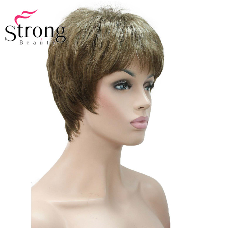 E-1777 Fashion Women`s Wigs Blonde & Light Brown Mix Short Synthetic Full Wig (4)