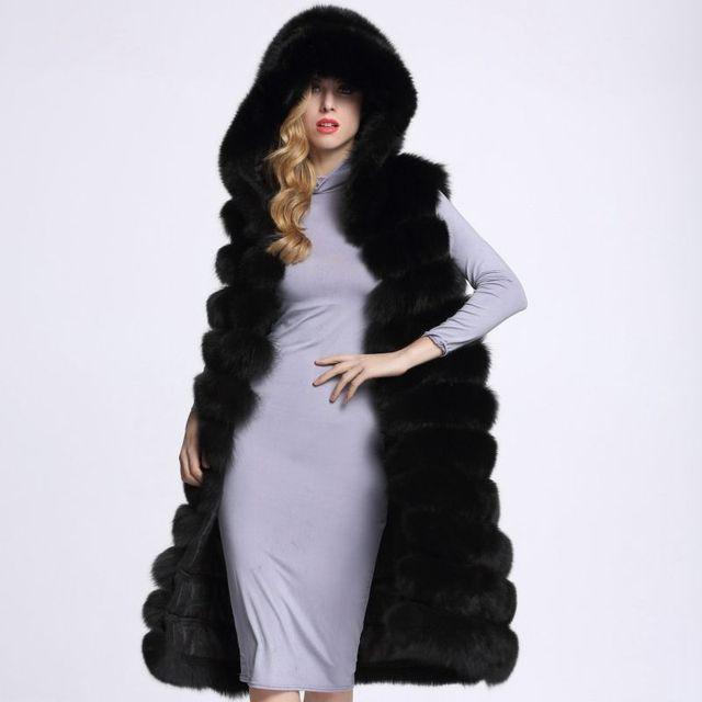 Long Fur Vest Winter Women Luxury Faux Fox Fur Vest Furry Slim Woman Fake Fur Vest Plus Size Faux Fur wj1342