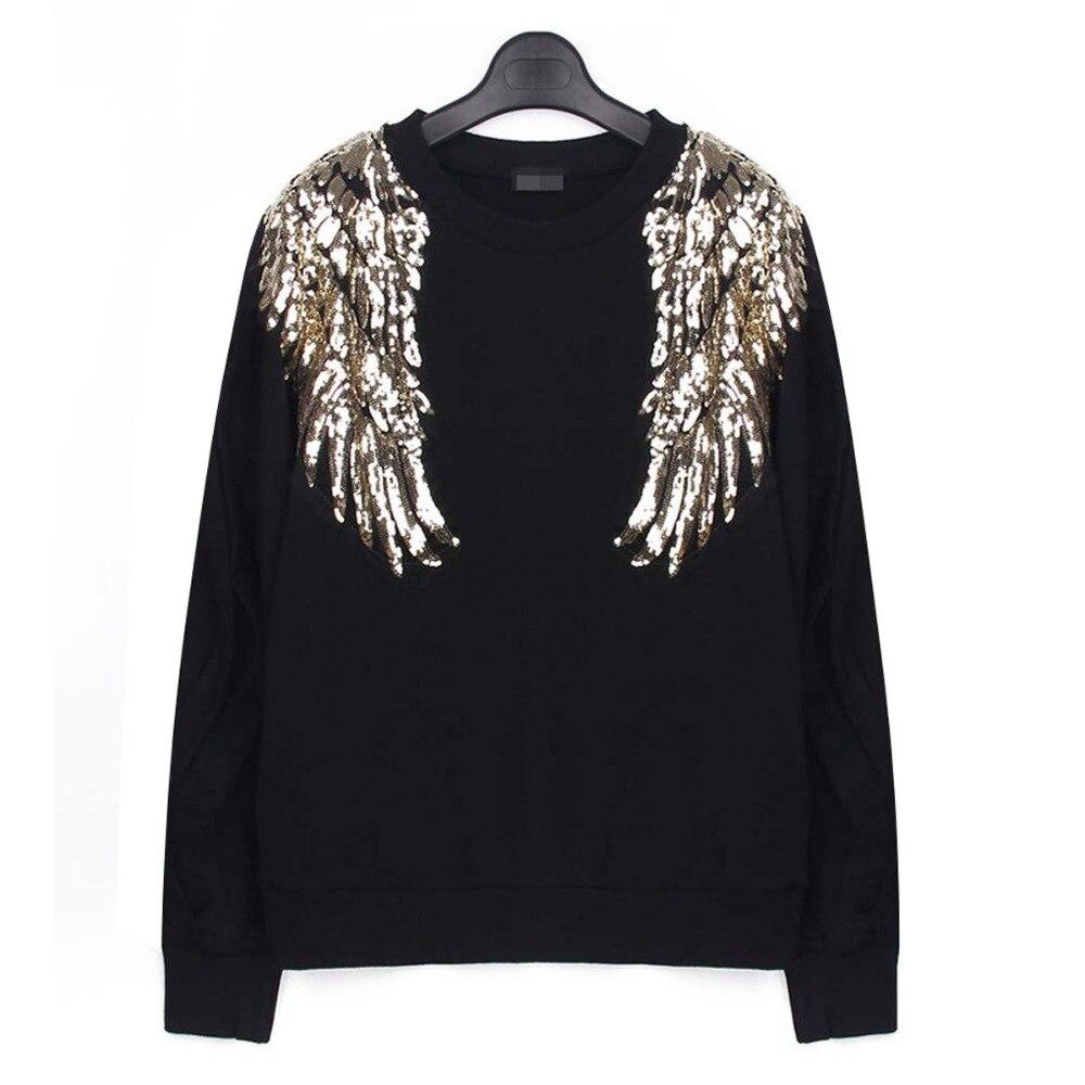 2018 New Tiger Embroidery Sequins 3D Wing Sweatshirt Hoody Long Sleeve Women Sweatshirt Letter Black  Big Size S-XXXL