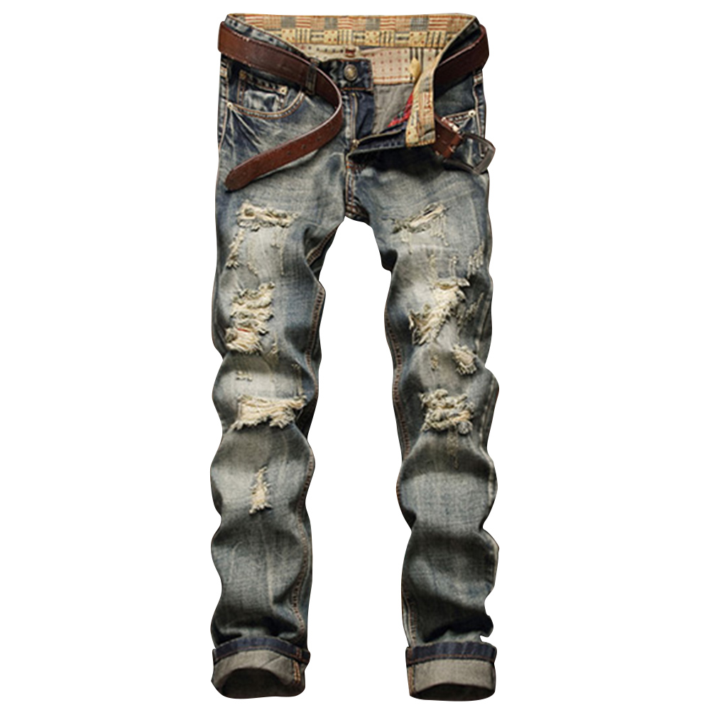 Men's Clothing 2017 New Mens Jeans Frayed Zipper Straight Leg Ripped Jeans Fashion Fly Five-pocket Slim Fit Biker Pants Trousers Hot Sale