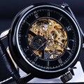 Orkina Preto Pulseira de Couro Relógio De Ouro Dos Homens Relógios Top Marca de Luxo Relógio Esqueleto Automática Erkek Kol Saati Relogios Masculino