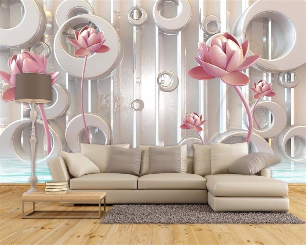 beibehang Custom fashion classic decorative painting silky green lotus circle background papel de parede wall papers home decor in Wallpapers from Home Improvement