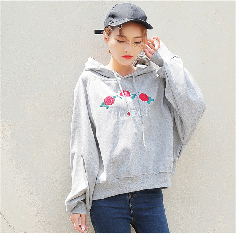 Really Shot Autumn Women Hooded Loose Hoodie Female Student BF Harajuku All-match Rose Embroidery Tops Q1957