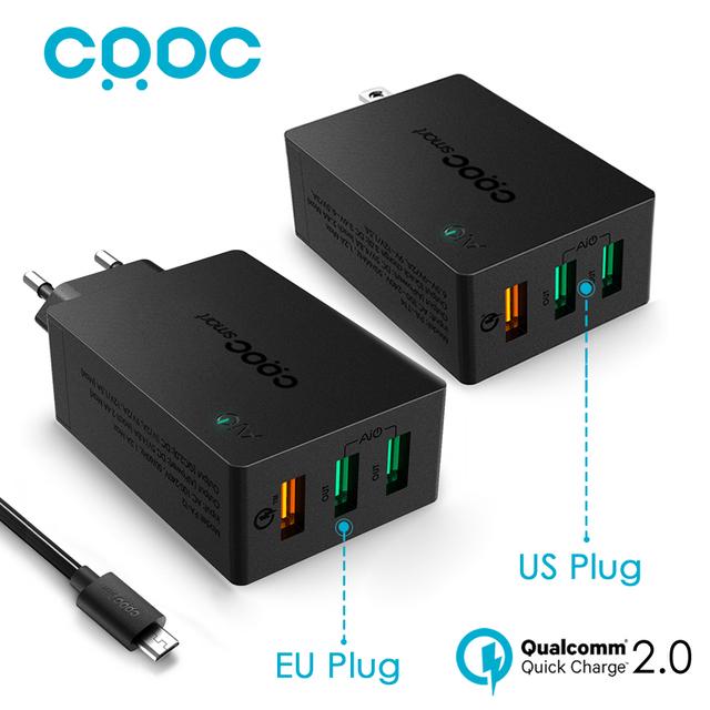 Carga rápida 2.0 Carregador USB Universal, CRDC Rápida Viagem Telefone Inteligente carregador para iphone 7 6 s 5S lg g5 xiaomi samsung, AUKEY Feito