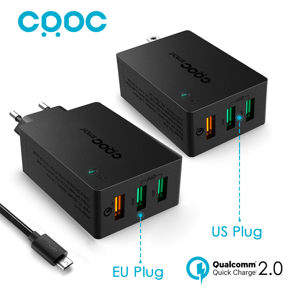 Quick Charge 2 0 Universal USB Charger CRDC Fast Travel Smart Phone Charger for iPhone 7