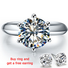 QYI 925 Sterling Silver Rings Women Engagement Round Simulated Diamond Wedding Gift Main Stone Size 1/1.5/2/3 ct
