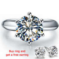 QYI 925 Sterling Silver Rings Women Engagement Silver Rings Round Simulated Diamond Wedding Gift Main Stone Size 1/1.5/2/3 ct